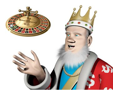 The Roulette King is pointing towards the content part of the website.