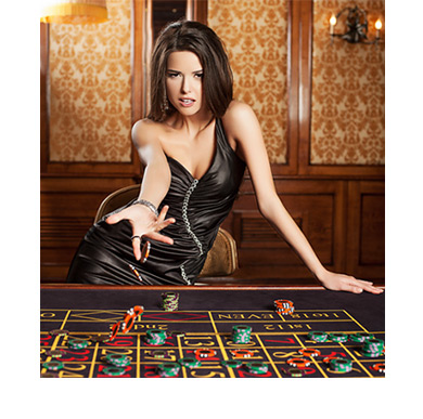 Woman wearing tight black leather throwing chips at the roulette table