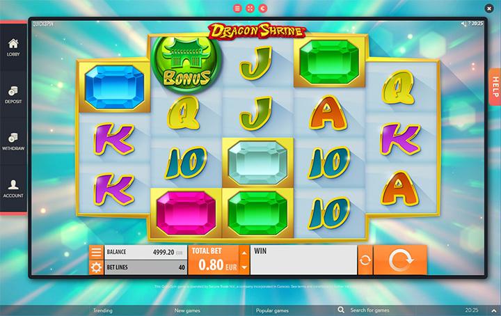 Dragon Shine slot game at Betspin online casino.