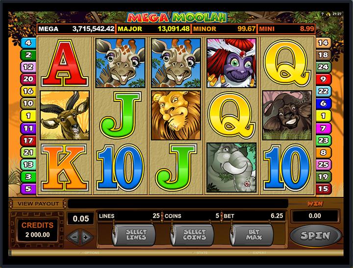 Mega Moolah online slot machine game.