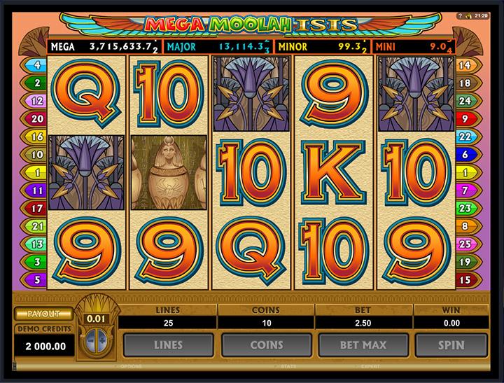 Mega Moolahisis slot screenshot.