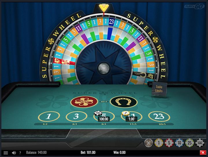 Play n Go - Super Wheel - Game screenshot.  Betspin internet casino.