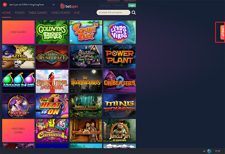 List of available games at Betspin online casino.