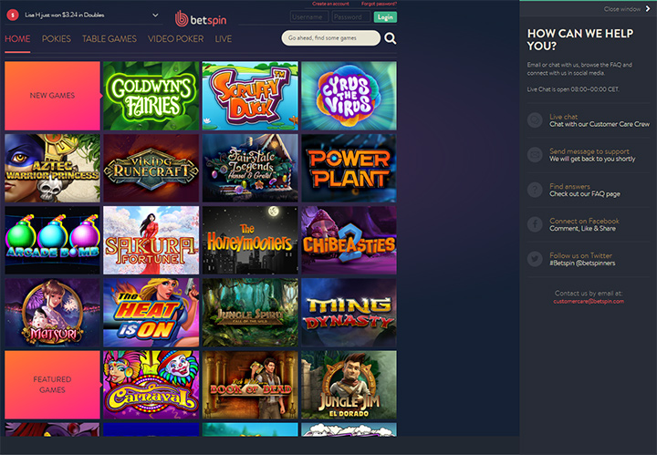 Help feature at Betspin online casino.