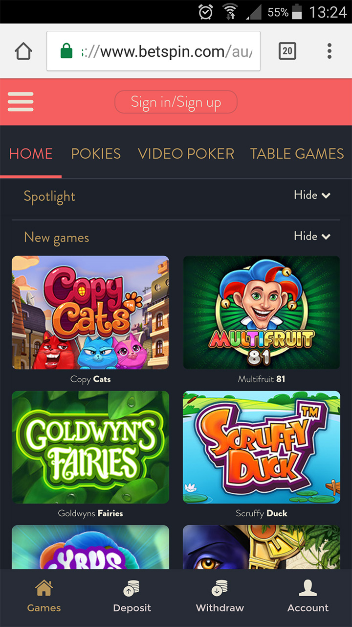 Mobile homepage for Betspin online casino.