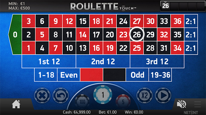 Mobile version of Roulette game - Roulette Touch.
