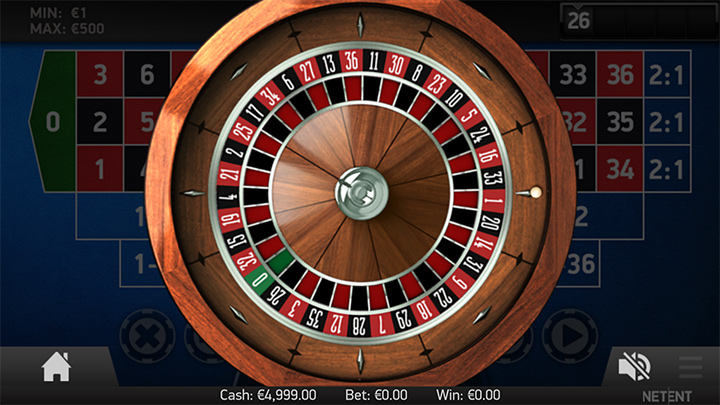 Another screen of the mobile roulette game at Betspin casino.