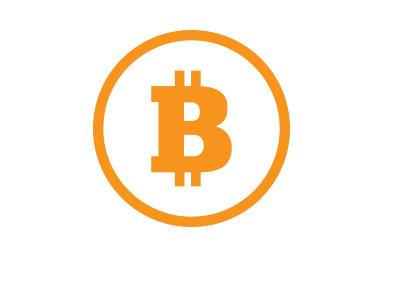 The Bitcoin symbol in orange colour.