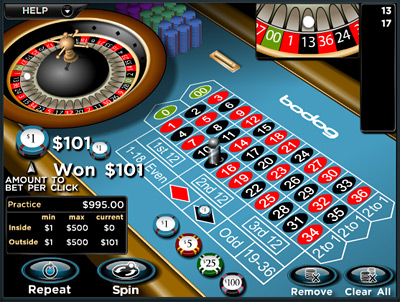 Screenshot of roulette game at Bodog Casino