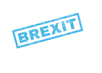 The Brexit stamp in blue colour.  Great Britain exiting the European Union.