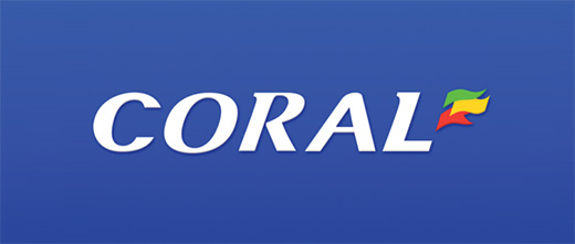 Coral - Logo over blue background.