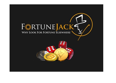Cryptocurrency casino - FortuneJack - Logo on black background.  Sign up.
