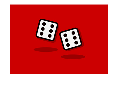 Online gambling ban - Illustration - Pair of dice on red background.