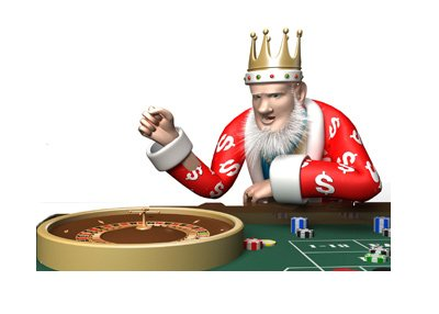 The King is sitting at the roulette table - Cheering.