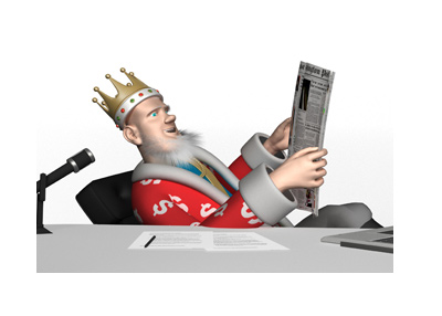 The Roulette King is leaning back in his office chair, while reading the daily papers.