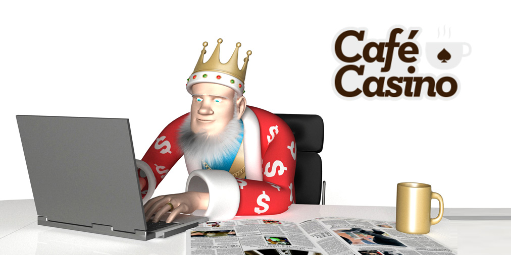 The King is talking about the latest Free Chip Bonus Offer at Cafe Casino, while of course having a coffee himself.