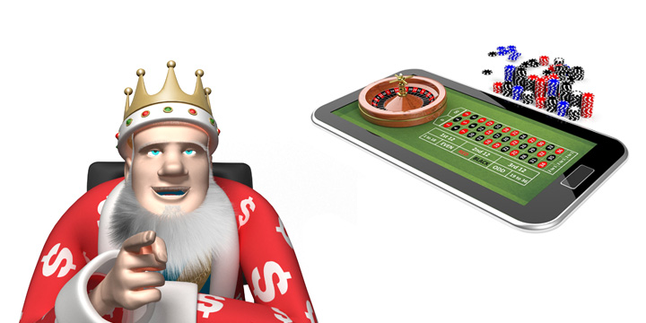 The King is making a point about online casinos sometimes being better than brick and mortar casino.  Image of an online roulette table is in the background