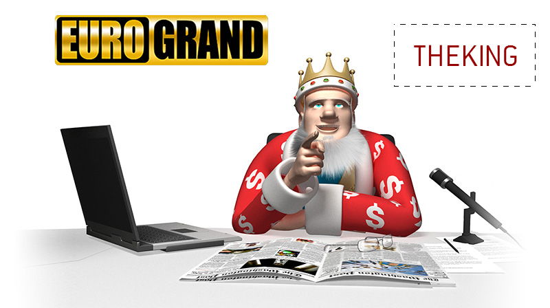 The King, while sitting in his office and working on his laptop, is reviewing the Eurogrand Casino latest promo bonus offer