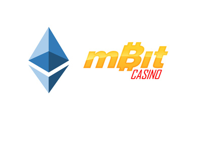 Mbit casino now offers Etherium as a deposit and withdrawal option.  Etherium and mbit logos.
