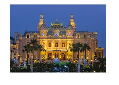 The Monte Carlo Casino in Monaco.  Photograph taken of the front entrance at sunset.