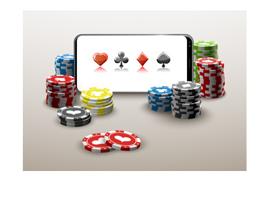Online casino played on mobile phone.  Illustration.  Coins all around.