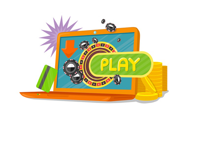The Illustration of online roulette game play.  Fun and exciting is the theme.
