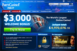 Homepage of PartyCasino.com featuring Roulette