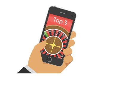 The top 3 mobile casinos - Phone featuring a roulette game - Illustration.