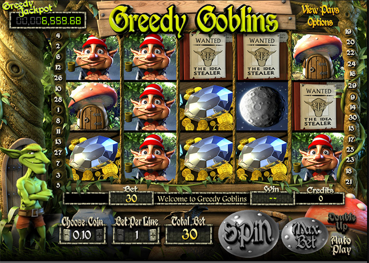 Slot game featuring green goblins.  At the Guts.com casino.