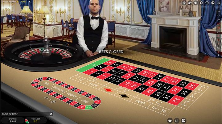 Live dealer roulette at the Guts.com online casino.