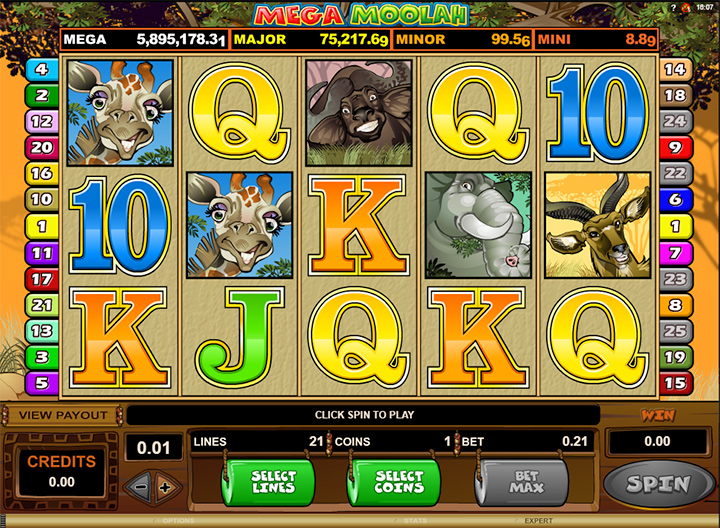 Slot machine game screenshot at Guts.com.  Mega Moolan.