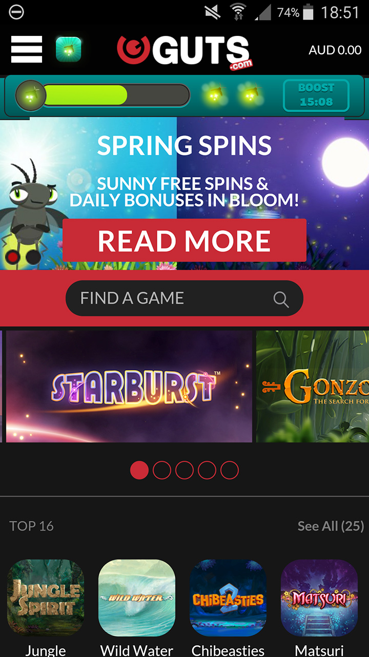 The mobile version of the Guts online casino featuring the current promo and available games.