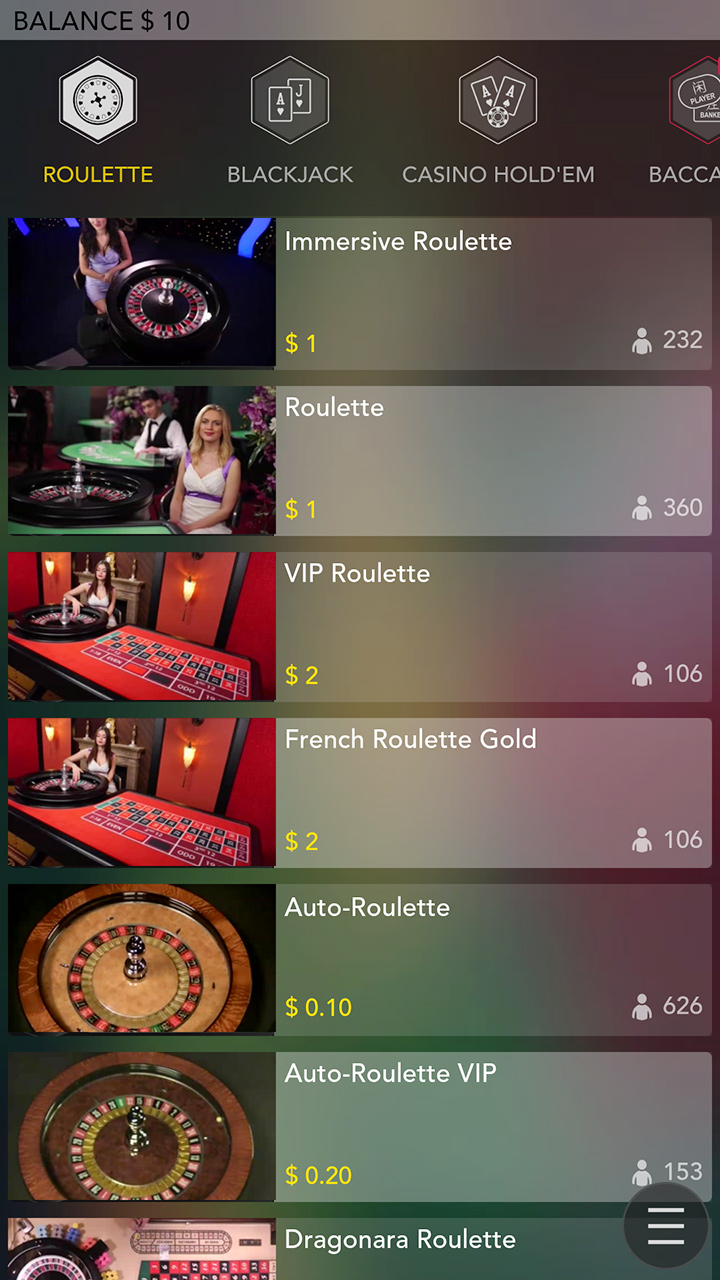 Different live roulette games at Guts online casino.