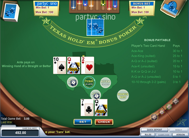 Texas Holdem at the PartyCasino - Game screenshot.