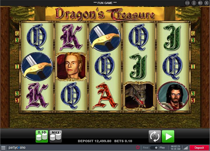 Dragons Treasure game at Partycasino.com - Screenshot / action shot.