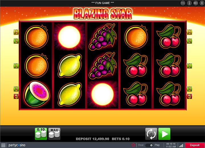 Blazing Star game screenshot.  Partycasino. Year is 2017.