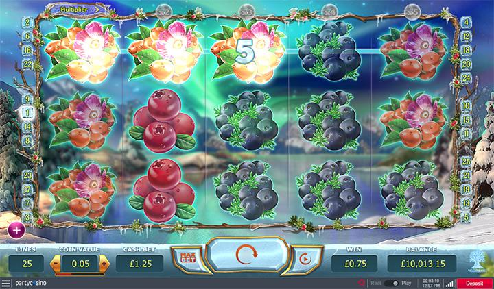 Online slot machine at PartyCasino - Flower theme.