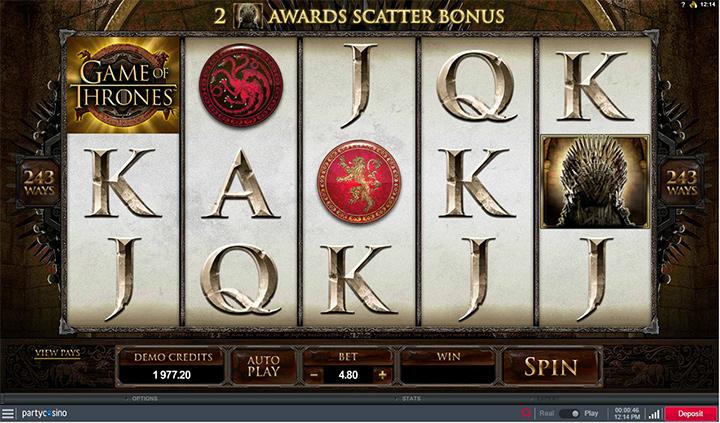 Game of Thrones online slot machine at PartyCasino - Screenshot.