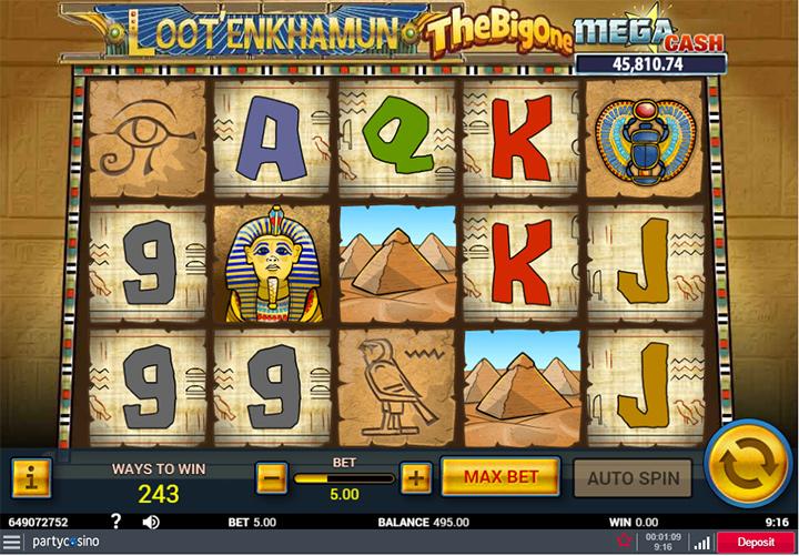 Partycasino screenshot of Loot Enkamun Slots.