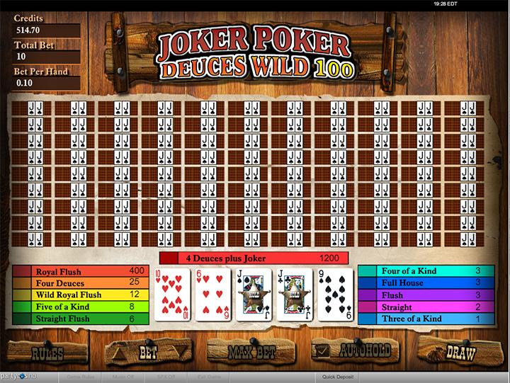 Joker Poker Deuces Wild game screenshot at PartyCasino.