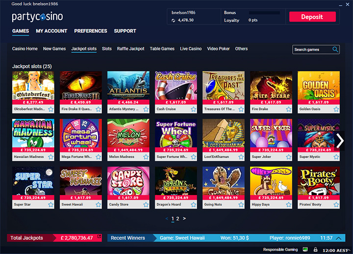 Games at PartyCasino.com - List with images.