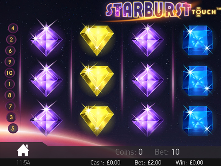 Starburst Touch - Online casino game.  Screenshot.