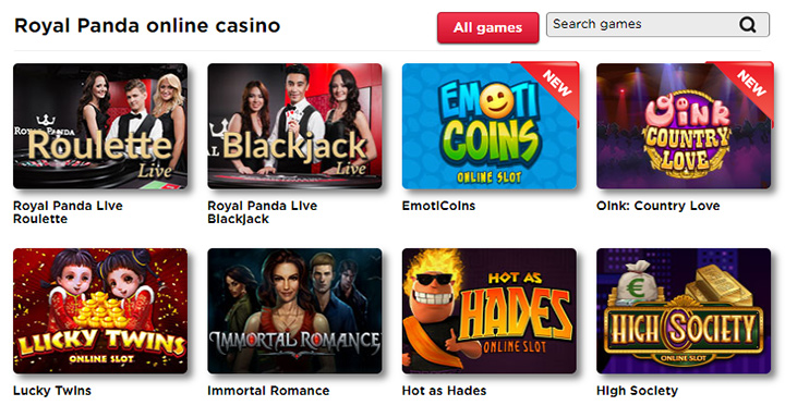 Games featured at Royal Panda Casino.  Screenshot.