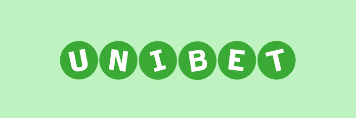 The Unibet logo on green background.  Click above for free spins.